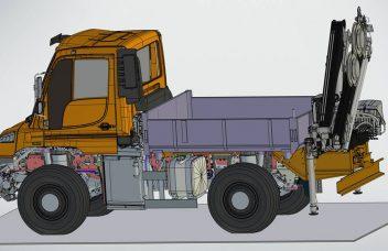 Wechselbarer Heckanbaukran am Unimog technische Darstellung